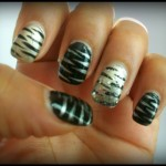 NOTD: Black & Silver Tiger Inspired Nails with Bling
